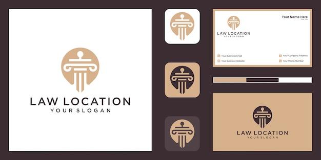 라인 아트 스타일과 명함이있는 법률 및 변호사 로고 디자인 템플릿