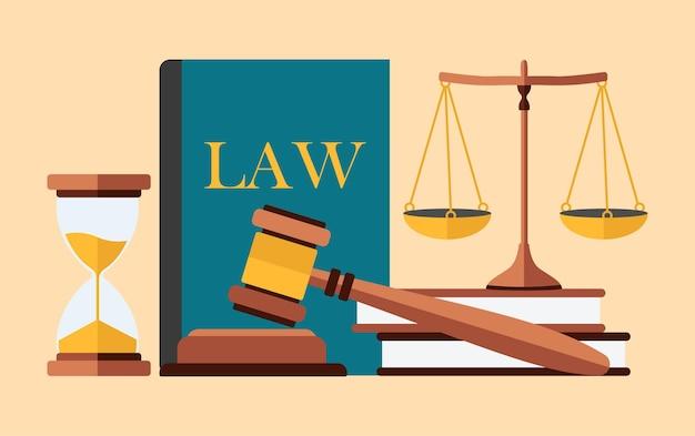법과 정의 개념. 플랫 스타일.