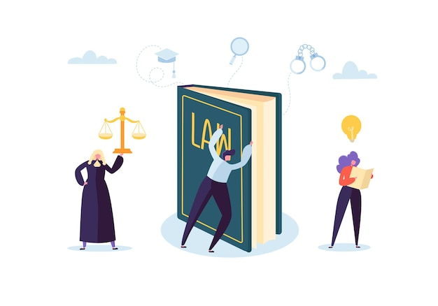 캐릭터와 사 법적 요소, 법률 책, 변호사가있는 법과 정의 개념. 판결 및 법원 배심원.