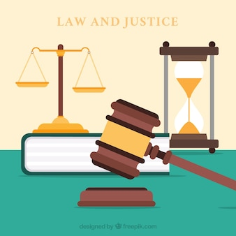 Law and justice concept with flat design