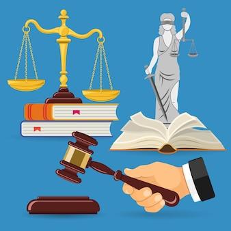 Концепция закона и правосудия с плоскими значками весов правосудия, молотком судьи, леди юстиции, книгами по праву.
