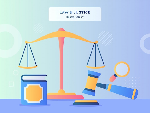 Концепция закона и справедливости с стилем дизайна значка молотка и шкалы