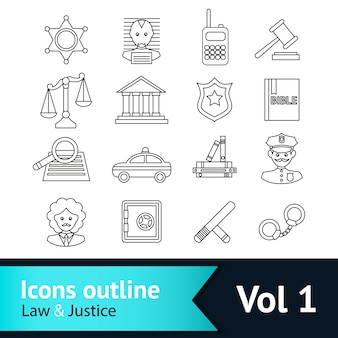 Law and justice icons collection