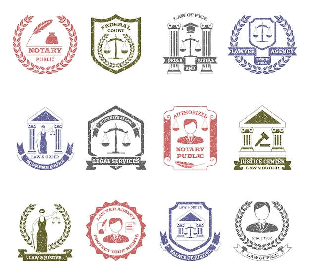 법률 및 주문 로고 스탬프 세트