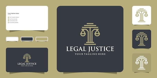 Дизайн логотипа юстиции адвоката и вдохновение для современных визиток