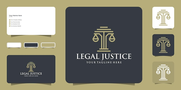 Law attorney justice logo design and modern business card inspiration