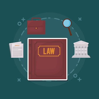 Law book and law and justice related icons