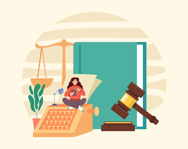 Law book scale document gavel government authority judgment justice concept.