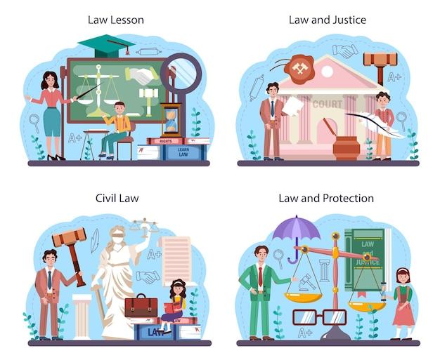 法律クラスの概念セット。罰と判断の教育。法学