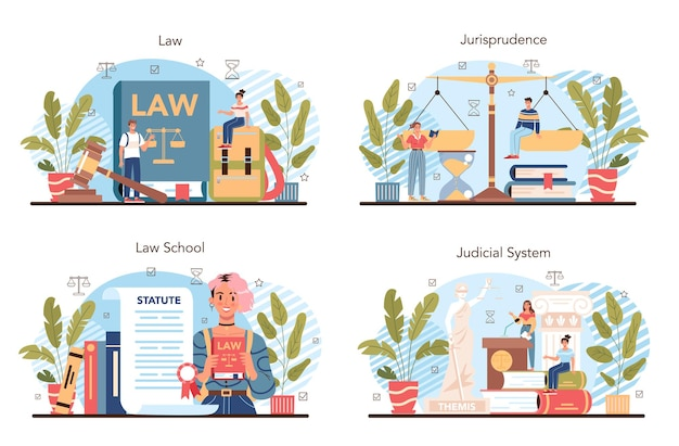 Law class concept set. punishment and judgement education. jurisprudence school course. guilt and innocence idea. vector illustration in cartoon style