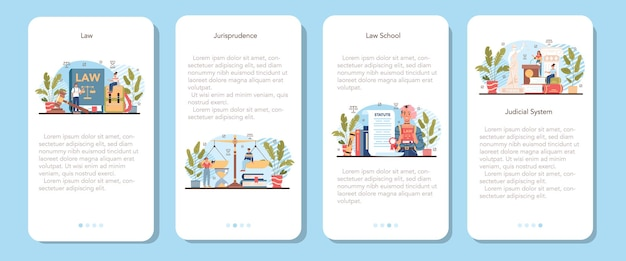 Law class mobile application banner set. punishment and judgement education. jurisprudence school course. guilt and innocence idea. vector illustration in cartoon style