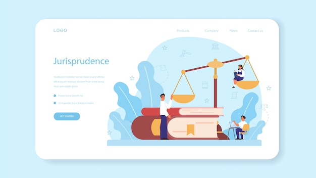 Law class web banner or landing page. punishment and judgement education.