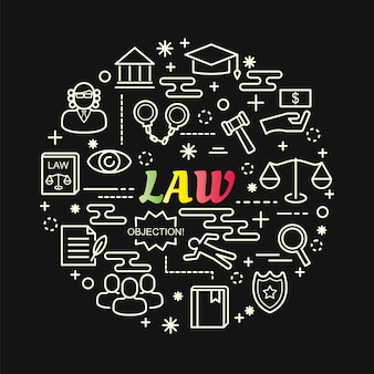 Law colorful gradient with line icons set