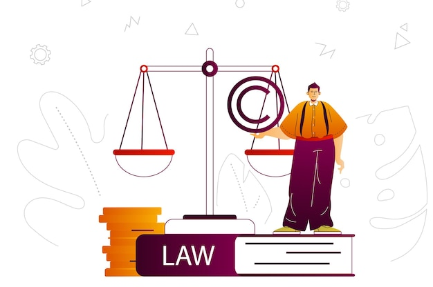 Law company web concept lawyer or attorney services business law legal rules