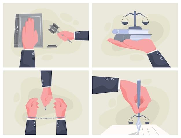 법률 개념 배너 세트입니다. jusitce의 손.