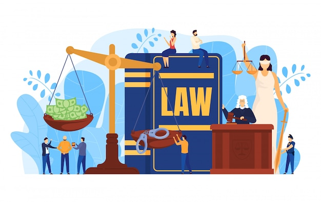 Law concept, judge and lawyers in courtroom, scales symbol of justice, people illustration
