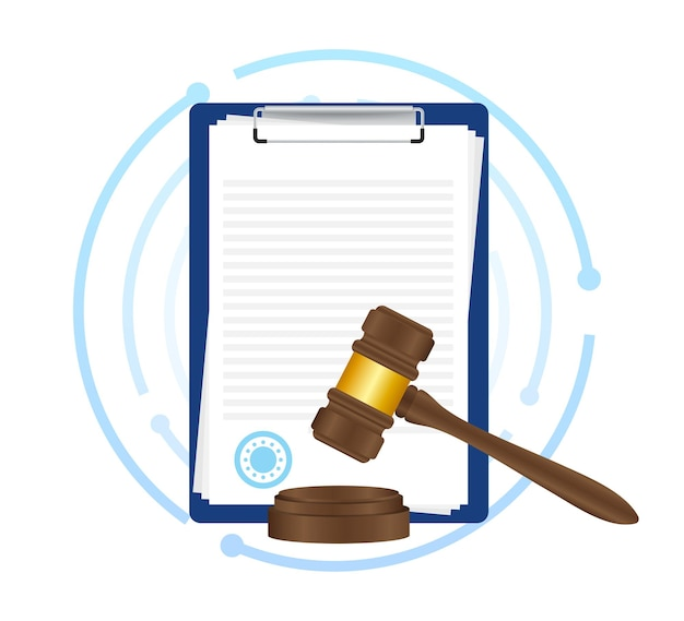 Law concept of legal regulation judicial system business agreement. vector stock illustration