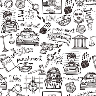 Law elements doodle sketch seamless pattern