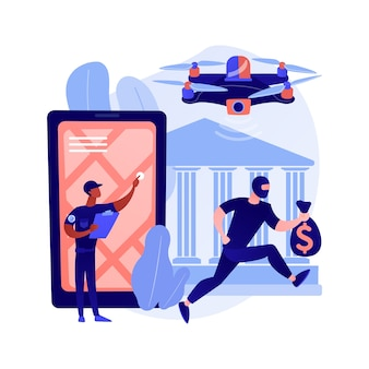 Illustrazione di concetto astratto dei droni delle forze dell'ordine