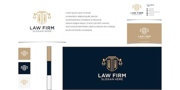 회사를위한 기둥 로고 럭셔리 디자인으로 법률 회사 개요