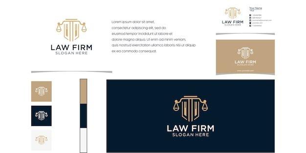 Law firm abstract with pillar logo luxury design for your company