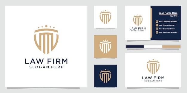 Law firm abstract with pillar logo with line art style luxury design and business card template