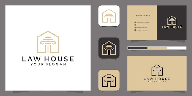 Юридическая фирма и домашний логотип шаблон вдохновения и визитная карточка