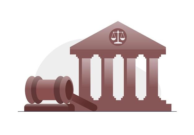 법률 사무소 및 법적 평면 벡터 일러스트 배너 및 방문 페이지