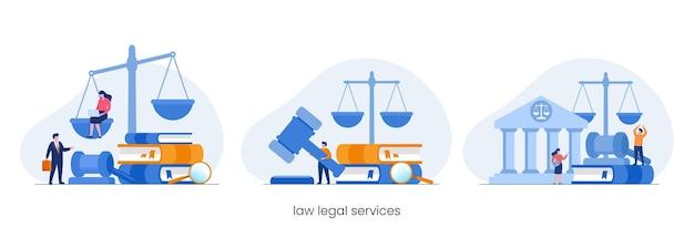 Юридическая фирма и концепция юридических услуг, юрист-консультант, плоский вектор иллюстрации