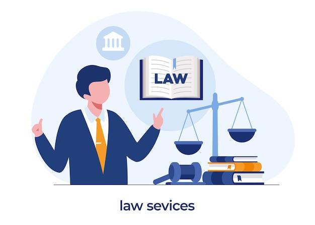 法律事務所と法律サービスの概念、弁護士コンサルタント、フラットイラストベクトル
