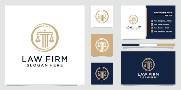 Law firm, attorney, pillar and elegance line art style logo with business card template. premium