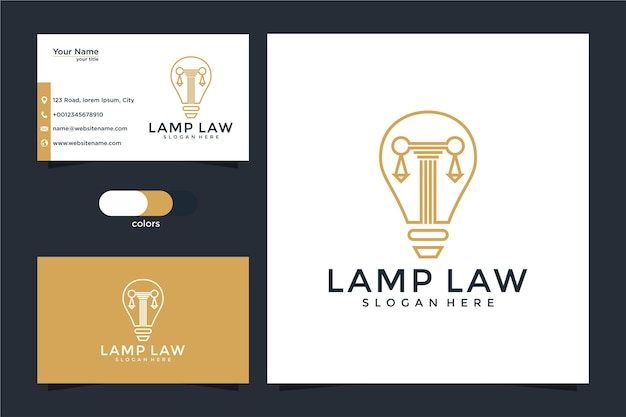 Law firm, attorney, pillar and light bulb line art style logo with business card