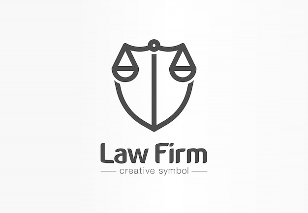 Law firm creative symbol concept. lawyer office, legal, justice, protection abstract business logo idea. scale and shield, attorney icon