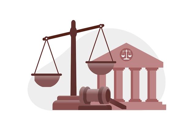 Юридическая фирма плоский векторные иллюстрации баннер шаблон