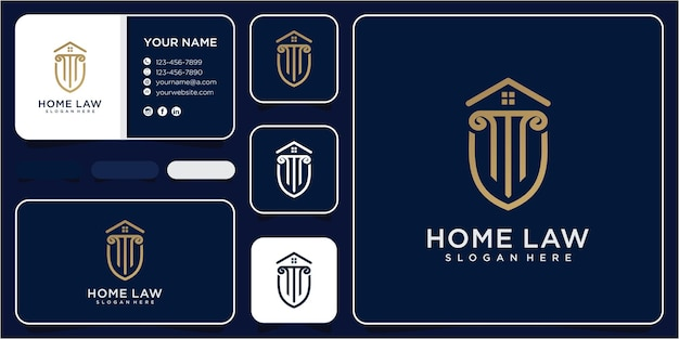 法律事務所の家のロゴのデザインテンプレート。自治法のロゴデザインのインスピレーション