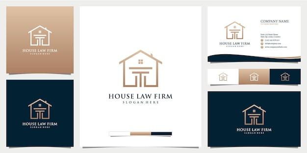 名刺テンプレートと法律事務所の家のロゴ