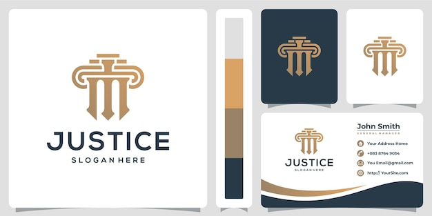 Law firm justice logo design and business card