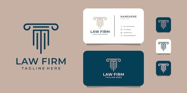 Дизайн логотипа юридической фирмы правосудия с шаблоном визитной карточки