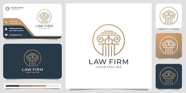 Дизайн логотипа юридической фирмы правосудия с формой круга и визитной карточкой