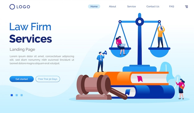 Law firm landing page website illustration template