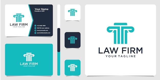 Логотип юридической фирмы и шаблон дизайна визитной карточки