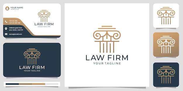Логотип юридической фирмы и шаблон визитной карточки золото