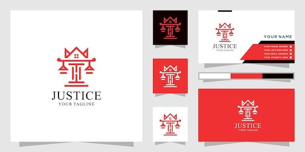 法律事務所のロゴと家の王冠のデザイン。アイコンと名刺