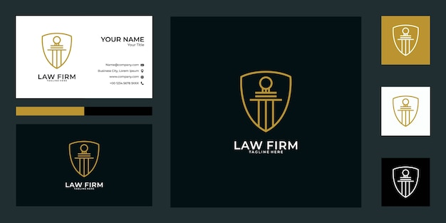 Law firm logo design and business card. good use for finance, business logo