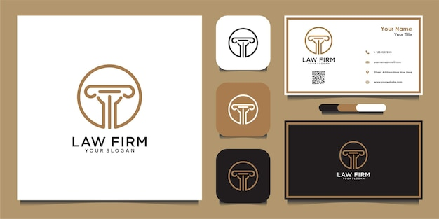 Law firm logo design template and business card  premium vector