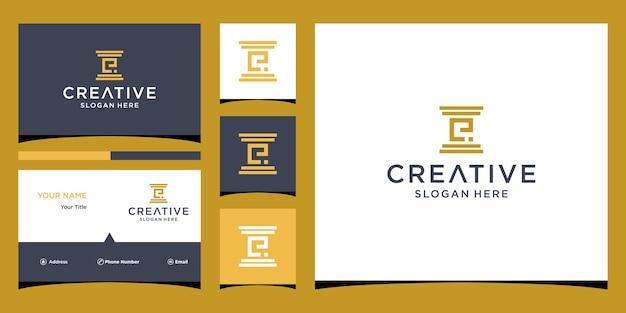 Дизайн логотипа юридической фирмы с шаблоном визитной карточки