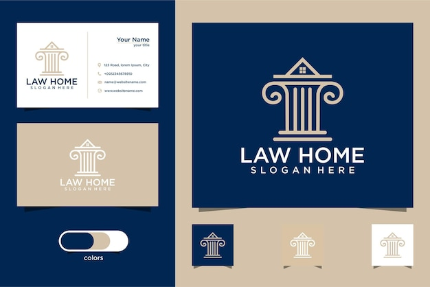 Law firm logo and house crown design and business card