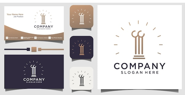 Law firm logo icon vector design. universal legal, lawyer with business card template background