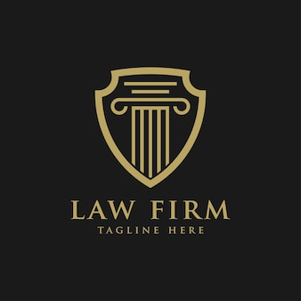 Law firm logo, justice and shield