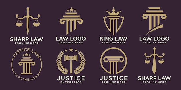 Law firm logo set elegant law and attorney firm vector logo design